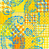 Yellow patchwork pattern. Seamless background pattern. Yellow patchwork with the grunge ornament Royalty Free Stock Photos