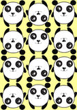 Yellow pattern background texture pattern of cute pandas Royalty Free Stock Photography
