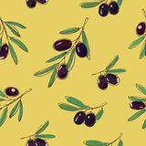 Yellow pattern with dark olives Stock Photos