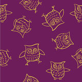 Yellow pattern funny owl   illustration Royalty Free Stock Photos
