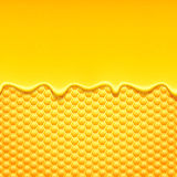 Yellow pattern with honeycomb and honey drips. Stock Photography