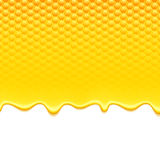Yellow pattern with honeycomb and honey drips Royalty Free Stock Image