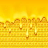 Yellow pattern with honeycomb and honey drips. Royalty Free Stock Images