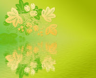 Yellow  pattern  in the Khokhloma style with  reflection. Royalty Free Stock Photo