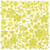 Yellow pattern with lined and colored flowers. Stock Photos
