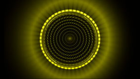 Yellow pattern made of squares spinning against black background stock video