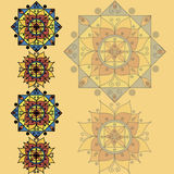 Yellow pattern with mandalas. Drawing of a yellow background with the yellow-blue mandalas in geometric style Stock Photography