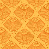Yellow pattern with ornamental birds Stock Photos