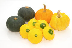 Yellow Patty Pan And Pumpkin Stock Photo