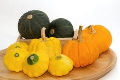 Yellow Patty Pan And Pumpkin Royalty Free Stock Photo