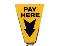 Yellow pay here signboard Royalty Free Stock Photo