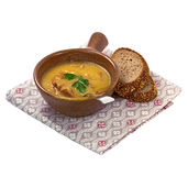 Yellow pea soup. Stock Photography