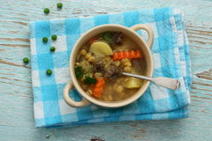 Yellow pea soup, potato and stew meat Royalty Free Stock Photo
