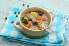 Yellow pea soup, potato and stew meat Stock Photos