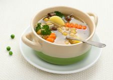Yellow pea soup, stew meat and potato Royalty Free Stock Photography