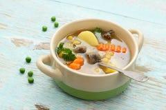 Yellow pea soup, stew meat and potato, Stock Photos