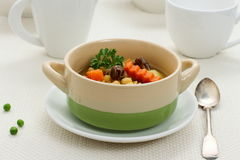 Yellow pea soup, stew meat and potato Stock Image