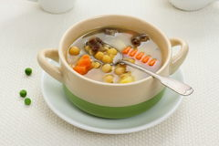 Yellow pea soup, stew meat and potato Royalty Free Stock Photo