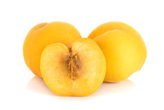 Yellow peach isolated on the white background Royalty Free Stock Image