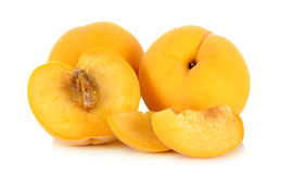 Yellow peach isolated on the white background Stock Photos