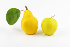 Yellow pear and apple Royalty Free Stock Image