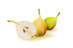 Yellow pear as source of vitamins and minerals to increase energy and combat fatigue and depression. Pear and a half. Stock Images