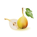 Yellow pear as source of vitamins and minerals to increase energy and combat fatigue and depression. Pear and a half. Royalty Free Stock Photos
