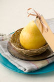 Yellow Pear with Card Royalty Free Stock Photography