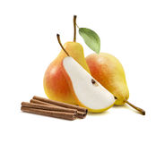 Yellow pear cinnamon sticks isolated Stock Photos