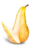 Yellow Pear With Cut Royalty Free Stock Images