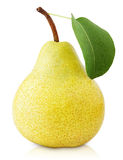 Yellow pear fruit with leaf  on white Stock Photo