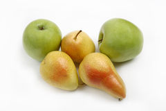 Yellow pear and green apple. On white background Royalty Free Stock Photography