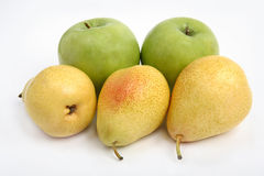 Yellow pear and green apple. On white background Stock Image