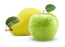 Yellow pear and green apple with leaf. Isolated on white background. Clipping Path Stock Photo