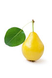 Yellow pear with green leaf Stock Photo