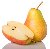 Yellow pear and half. Isolated on white background Stock Photography