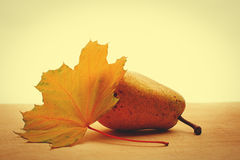Yellow pear and maple leaf Royalty Free Stock Photography