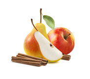Yellow pear red apple cinnamon isolated Stock Photography