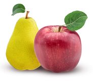Yellow pear and red apple with leaf. On white background. Clipping Path. Full depth of field Royalty Free Stock Photography