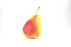 Yellow pear with a red spot. On a white background Royalty Free Stock Images