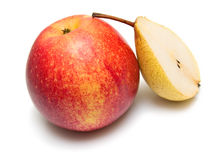 Yellow pear and ripe red apple Stock Image