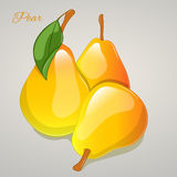 Yellow pear simple cartoon style. Vector Illustration. Fruits and vegetables collection Stock Photo