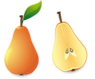 Yellow pear and slice Royalty Free Stock Photos
