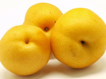 Yellow pears. Japanese yellow pears isolated over white background Stock Images