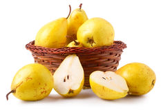 Yellow Pears In A Basket On White Background Royalty Free Stock Images