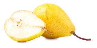 Yellow pears, cut and whole over white background Stock Image