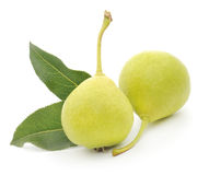 Yellow pears with green leafs Royalty Free Stock Photos
