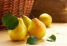 Fresh pears with leaves in front of wattled basket with harvest on wooden rustic background, copy space. Yellow pears with green leaves laying on wooden table in royalty free stock photo