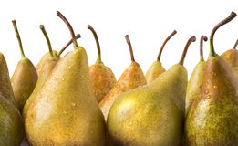 Yellow pears over white background. Couple of yellow pears over white background stock images