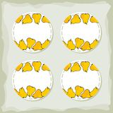 Yellow pears round sticker set Royalty Free Stock Photos